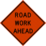48 x 48 Road Work Ahead Reflective Vinyl Roll up Sign