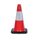 "JBC Safety Plastic 18"" Orange Traffic Cone with Reflective Collar"