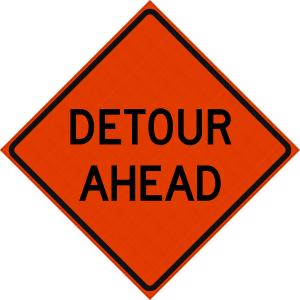 48 x 48 Detour Ahead Reflective Vinyl Roll Up Sign