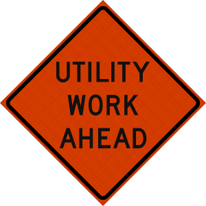 48 x 48 Utility Work Ahead Reflective Vinyl Roll up Sign