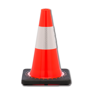 "JBC Safety Plastic 12"" Orange Traffic Cone with Reflective Collar"