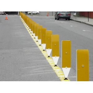 Impact Recovery Systems Tuff Curb® XLP Low Profile Traffic Posts Separator Curb with High Visibility Delineators