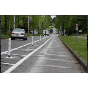 "Tuff Post® 3"" High Performance Flexible Delineators on Street"