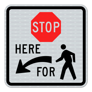 EGP Stop Here To Pedestrian Arrow Left Signs R1-5bL