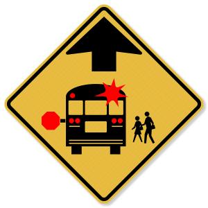"30""x30"" 3M™ Engineering Grade Prismatic School Bus Stop Ahead Signs S3-1"