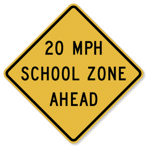 "30""x30"" 3M™ Engineering Grade Prismatic (EGP) Reduced School Speed Limit Ahead S4-5a"