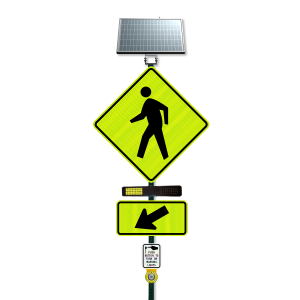 """TraffiCalm Push 2 Cross 30"""" Sign with RRFB and Controller and Bulldog Button Main View"""