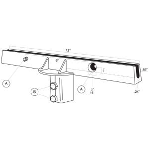 "12"" U-Channel 180° Post Cap Flat Line Drawing"