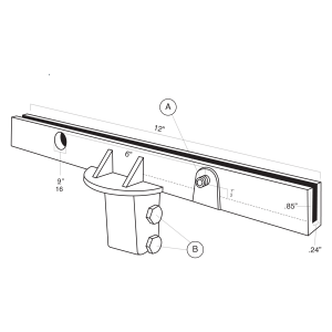 "12"" U-Channel 90° Post Cap Flat Line Drawing"
