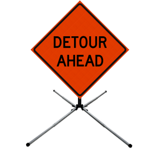 48 x 48 Detour Ahead Vinyl Roll Up Sign on Sign Stand
