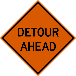 48 x 48 Detour Ahead Vinyl Roll Up Sign