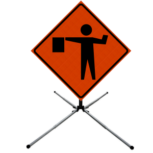 48 x 48 Flagger Symbol Vinyl Roll up Sign on Sign Stand