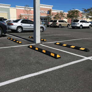 Justrite Safety 6' Black/Yellow Recycled Rubber Car Stop In Parking Lot