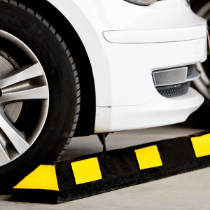 Justrite Safety 6' Black/Yellow Recycled Rubber Car Stop In Parking Garage