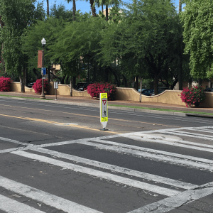 Impact Recovery Systems In-Street Stop For Pedestrian Crosswalk Sign Outside Crosswalk
