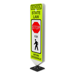 Impact Recovery Systems In-Street Stop For Pedestrian Crosswalk Sign School State Law