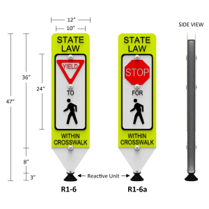 Impact Recovery Systems In-Street Stop For Pedestrian Crosswalk Sign
