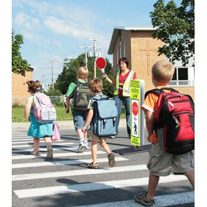 Impact Recovery Systems Ped-in-a-Bag® Portable School State Law Stop For Pedestrians  In Crosswalk