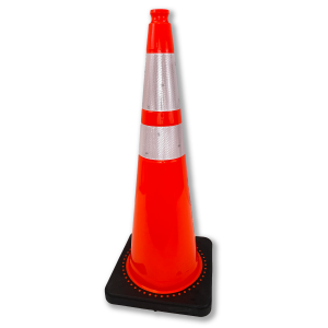 "JBC Safety Plastic 36"" Orange Traffic Cone with Reflective Collar"