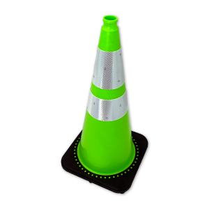 "JBC Safety Plastic 28"" Lime Green Traffic Cone with Reflective Collar Angle"