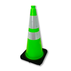 "JBC Safety Plastic 28"" Lime Green Traffic Cone with Reflective Collar"