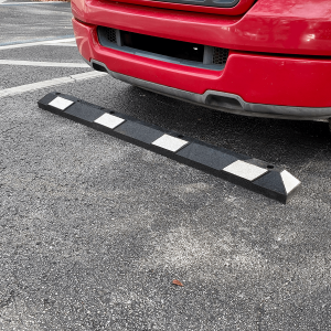 Justrite Safety 6' Black/White Recycled Rubber Car Stop Main Image