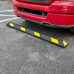 Justrite Safety 6' Black/Yellow Recycled Rubber Car Stop Main View