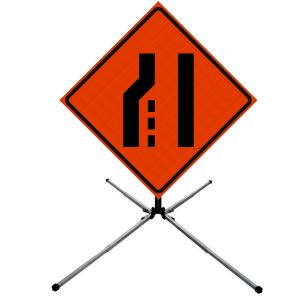 48 x 48 Lane Ends Merge Right Reflective Vinyl Roll Up Sign on Sign Stand