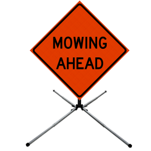 48 x 48 Mowing Ahead Vinyl Roll up Sign on Sign Stand
