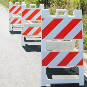 "24"" Wide Type II High Intensity Plastic Folding Barricade On Highway"