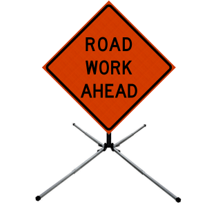 48 x 48 Road Work Ahead Vinyl Roll up Sign on Sign Stand