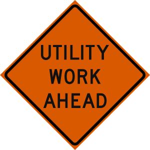 48 x 48 Utility Work Ahead Vinyl Roll up Sign