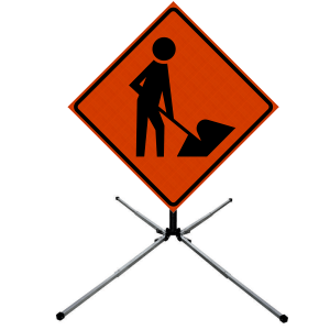 48 x 48 Utility Work Ahead Vinyl Roll up Sign on Sign Stand