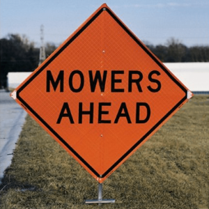 Dicke Safety P100 Sign Stand With Mowers Ahead Sign