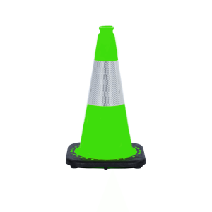 "JBC Safety Plastic 18"" Yellow Green Traffic Cone with Reflective Collar"