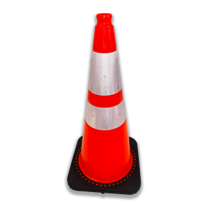 "JBC Safety Plastic 28"" Orange Traffic Cone with Reflective Collar angle 2"