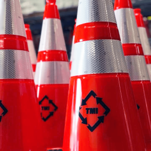 JBC Safety Plastic Revolution Series Orange Traffic Cones with Reflective Collar with Stenciling