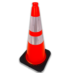 "JBC Safety Plastic 28"" Orange Traffic Cone with Reflective Collar angle"