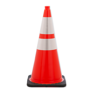 "JBC Safety Plastic 28"" Orange Traffic Cone with Reflective Collar"
