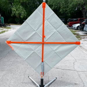48 x 48 Utility Work Ahead Reflective Vinyl Roll up Sign on Sign Stand Back