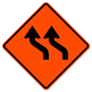 National Traffic Signs W1-4bL-48-DGFO-Two Lane Reverse Curve Left Sign