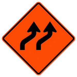 National Traffic Signs W1-4bR-48-DGFO-Two Lane Reverse Curve Right Sign