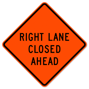 National Traffic Signs W20-5RA-48-DGFO Right Lane Closed Ahead Sign