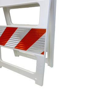 "24"" Wide Type II High Intensity Plastic Folding Barricade side angle"