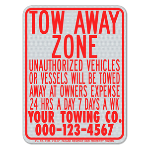 White / Red Tow-Away Zone Sign 3M Engineering Grade Prismatic Sheeting