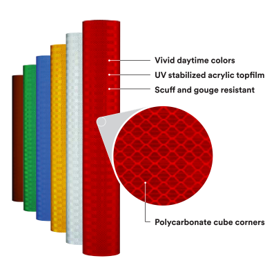 "18"" Roll of 3M™ High Intensity Prismatic Sheeting Series 3930 Prismatic View"