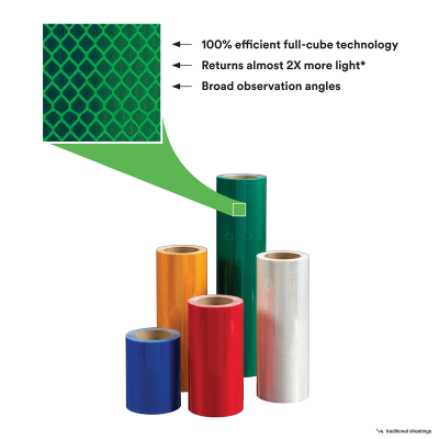 """18"""" Roll of 3M™ Diamond Grade™ DG3 Reflective Sheeting Series 4000 Prismatic View"""