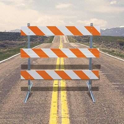 10' Type III Barricade On Road