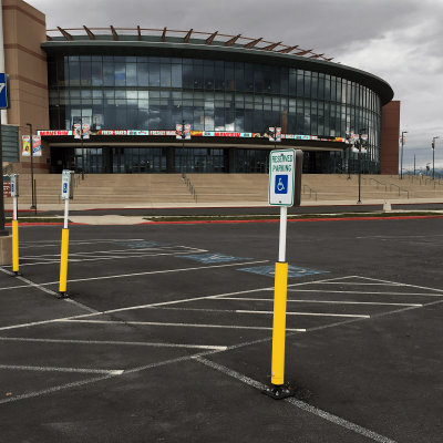 """Impact Recovery Systems Sta-Rite 102"""" Sign Post With Bollard and Parking Signs"""