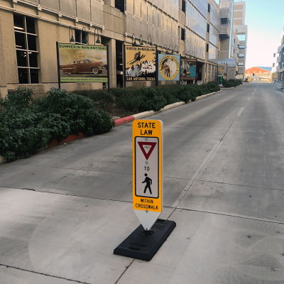 Impact Recovery Systems In-Street Stop For Pedestrian Crosswalk Sign Yield with Portable Base